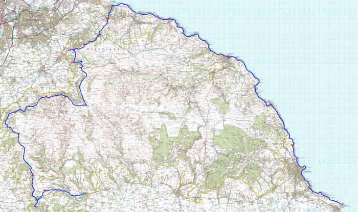 The route of the Cleveland Way around the north sides of the North York Moors.