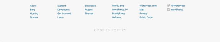 WordPress's footer