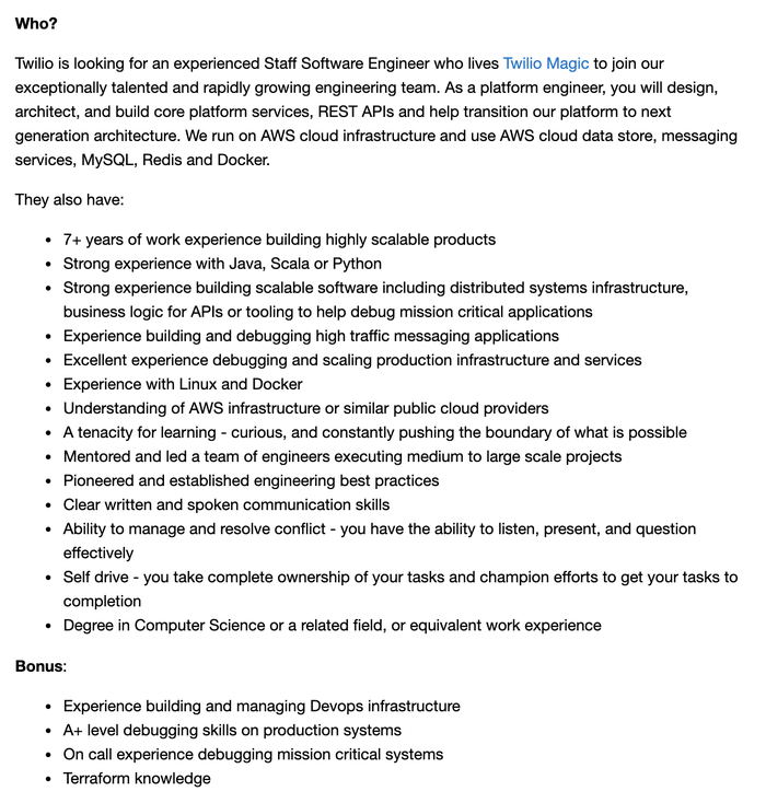 """An example posting for a 'general backend' role, simply titled: """"Staff Software Engineer"""""""