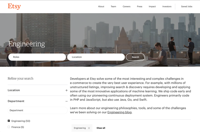 The engineering careers landing page at Etsy.